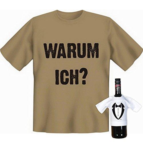 Originelles Funshirt! T-Shirt Set - Warum Ich? Plus einem gratis Gentleman Minishirt! Sand