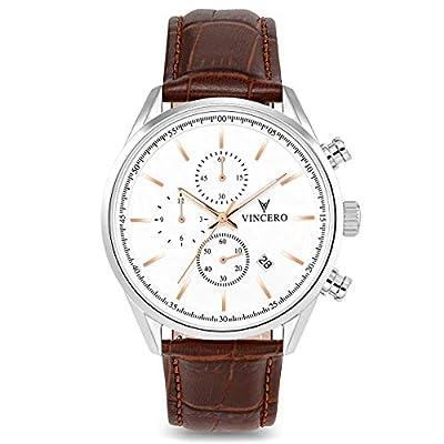 Vincero - Reloj de Pulsera para Hombre, Correa de Piel Italiana de Grano Superior, cronógrafo de 40 mm, Movimiento de Cuarzo japonés