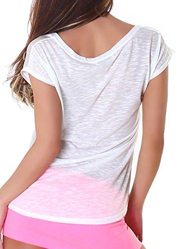 Jela London Top mit lässigem Print Aufdruck, auch als One Shoudler Shirt tragbar, in vielen Farbkombinationen erhältlich Weiß