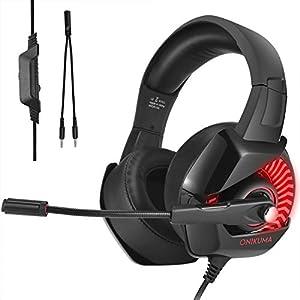 CHEREEKI Gaming Headset, Surround Sound Kabel Headset mit Mikrofon, Gaming Kopfhörer mit Buntes LED-Licht, für PS4, PS4 Pro, Xbox One, PC, Laptop, Mac, Tablet
