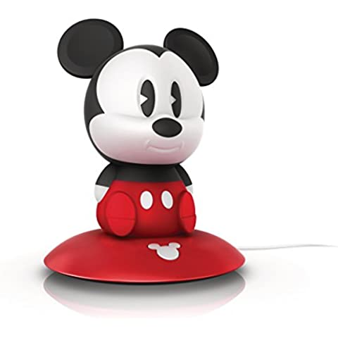 Philips Disney Mickey Mouse - Peluche luminoso, con base de carga, luz blanca cálida, bombilla LED de 0,18 W, color rojo y