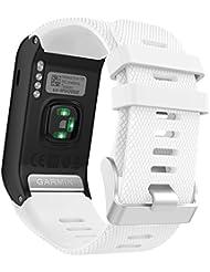 Garmin Vivoactive HR bracelet, MoKo Replacement WatchBand Wristband en Silicone souple Band pour Garmin Vívoactive HR Montre multisports cardio poignet, Blanc