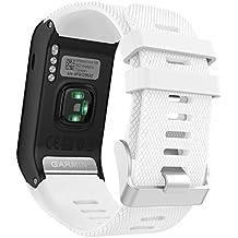 MoKo Garmin Vivoactive HR Correa de Reloj, Suave Silicona Reemplazo Watch Band para Garmin Vivoactive HR Deporte GPS Smart Watch con Pins y Herramientas Adaptador - Blanco