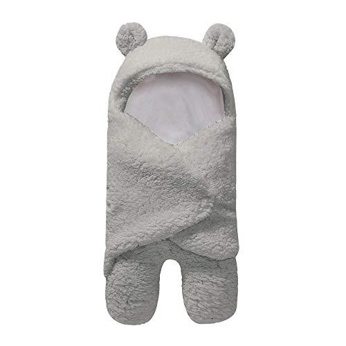 Kobwa Couverture demmaillotage pour nouveau-n/é 6-12 mois sac de couchage /épais chaud en polaire tricot/é /à capuche pour b/éb/é blanc blanc