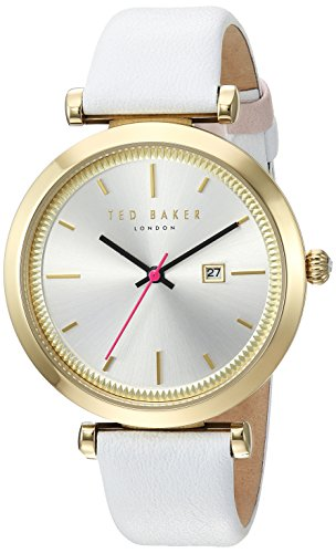 Ted Baker Women's 'AVA' Quartz Stainless Steel and Leather Dress Watch, Color:White (Model: 10031519)