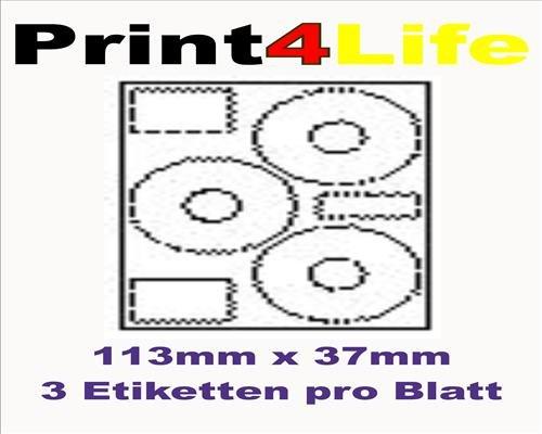 Preisvergleich Produktbild 300 Stk. Selbstklebende WEIßE Etiketten permanent klebend Adressetiketten Etikettenformat CD DVD Labels Rund Ø 113.0x37.0 mm, 100 Blatt DIN A4, 70g/qm, geeignet für Inkjetdrucker-, Laserdrucker und Kopierer.