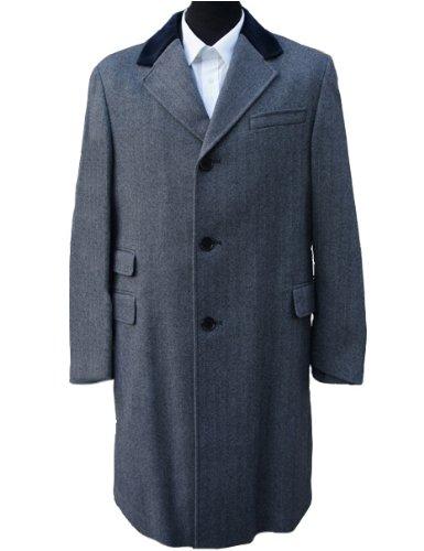 Manteau en laine à chevrons Gris clair 40 cm Regular
