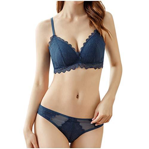 TTWOMEN Baumwollbelüftung Spitzen BH Set, Damen Sexy Ohne Bügel Comfort Unterwäsche Bequeme Cup (Blau, X-Large)