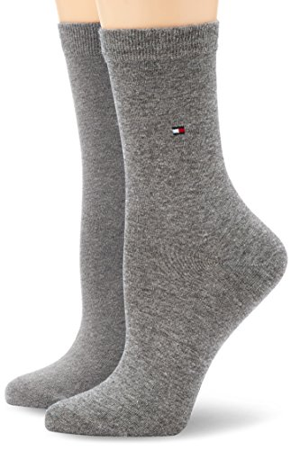 Tommy Hilfiger Damen Socken Th Women Sock Casual 2er Pack, Blickdicht, Grau (Middle Grey Melange 758), 39/42 -