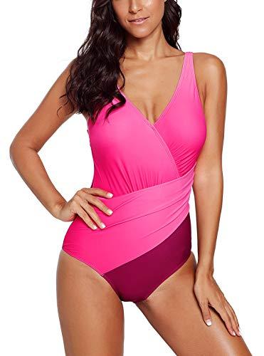 Dokotoo Damen Badeanzug Criss Cross Bunt Neckholder Frauen Badebekleidung Einteiler Print Rosa Elastizität XL