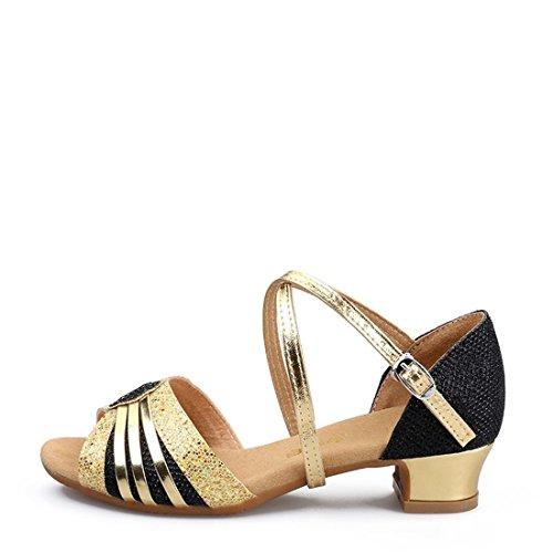 Wxmddn Ladies'scarpe balletti scarpe danza scarpe tango ginnastica danza jazz scarpe danza allenatori scarpe pratica performance Dance scarpe per ragazze donne Oro nero oro