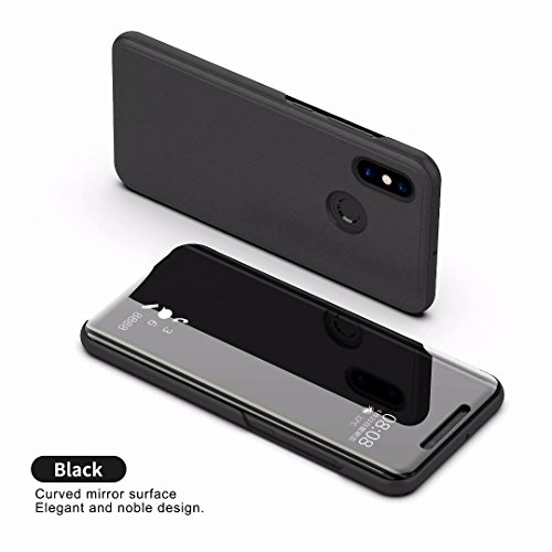 Xiaomi Mi 8 Cover Luxury Mirror Flip Custodia Cover Smart View per Xiaomi Mi 8 (Nero)