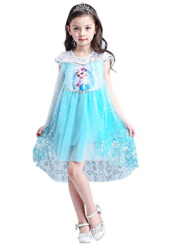 Qemsele Mädchen Prinzessin Kleid Cosplay Verrücktes Kleid Partei Kostüm Outfit für Fest Karneval Weihnachten Halloween Gefroren Prinzessin ELSA (110 fit für Höhe 100-110cm (39