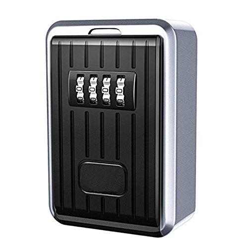 Cikuso Lock Box 4-stellige Kombination Wasserdichte Box Aluminiumlegierung Wetterfeste Schluessel Hider mit ruecksetzbaren Code Key Storage Wall Mounted -