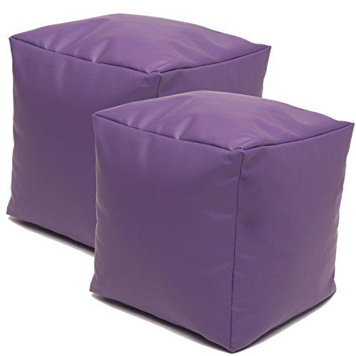 Jarrous Pack de 2 Puffs Taburete Cubo Modelo Colonial, Color Violeta,