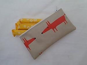 Handmade Oilcloth Tampon Case Holder - Scion Mr Fox Mini Orange Fabric