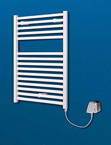 Der Renovierungsprofi Handtuchwärmer Toskana, elektrisch mit Heizstab, 70x50 cm, alpin-weiß, Heizpatrone mit Spiral-Kabel und Schuko-Stecker, Handtuchhalter-Funktion