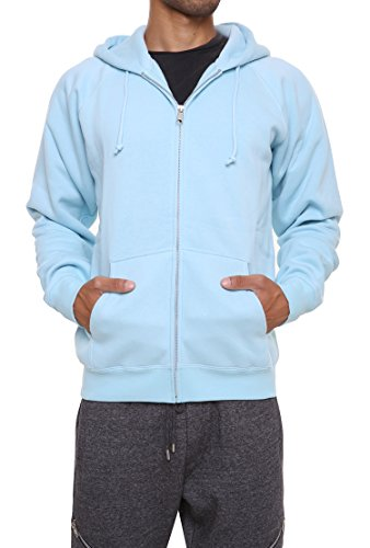 FORBIDEFENSE Herren Sweatshirt Hoodies Full Sleeve Front Zip Premium Hood 2 Split Pocket - Blau - Klein Sleeve Hoodie