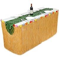 hbbmagic hawaiano Grass Cuadro Falda 1pieza con Artificial suave hojas de palmera (12piezas) para Tropical playa parte decoración