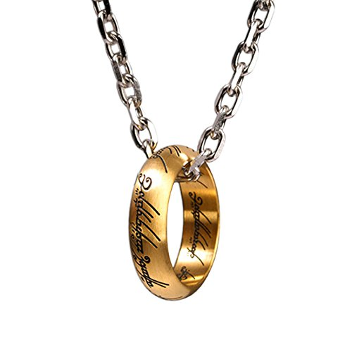 Señor de los anillos un anillo de collar colgante, inscripción, acero inoxidable, chapado en oro, con licencia