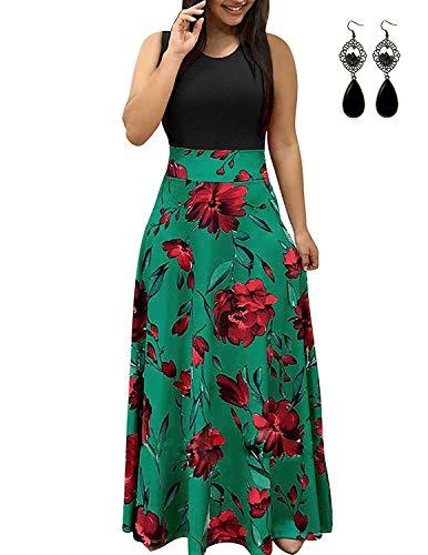 UUAISSO Sommerkleid Damen Lang mit Blüte Drucken Lang High Waist Elastische Strandkleider Maxikleider Ohne Arm-Grün 4XL (Lange Maxi Print Kleid)