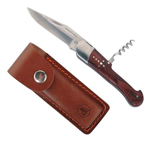Laguiole - Couteau Pliant Manche en Bois de Rose avec Tire-Bouchon et Etui en Cuir - Acier Inoxydable - Marron foncé
