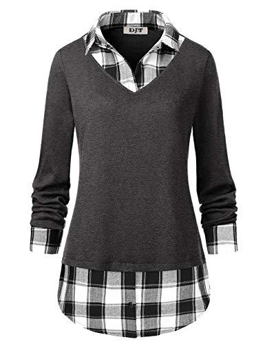DJT Damen 2-in-1 Kariert Casual Bluse Langarmshirt, 2#grau, L