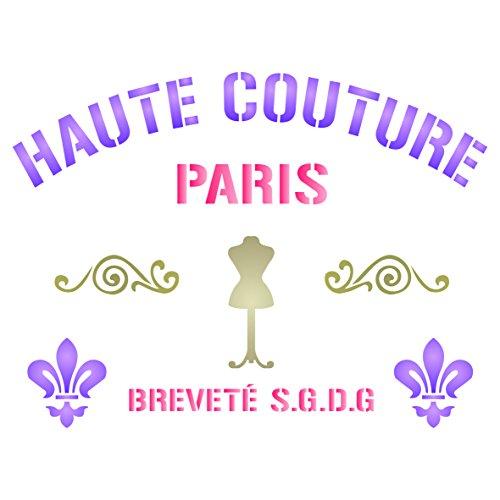 Haute Couture Schablone-wiederverwendbar Französischer Vintage Motto Wort Wand Schablone-Vorlage, auf Papier Projekte Scrapbook Tagebuch Wände Böden Stoff Möbel Glas Holz etc, L -