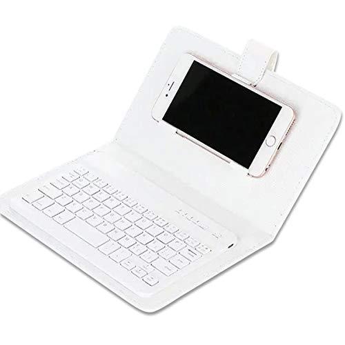 BuffyIn Tragbar Kunstleder Tastatur Schutzhülle Telefon Drahtlose Bluetooth Tastatur für iPhone Android - Weiß - Iphone-tastatur-case