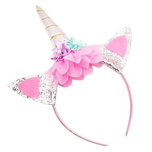 Surenhap 6pcs fascia principessa bambino accessori per capelli con orecchie per carnevale di halloween adulti e bambini - argento