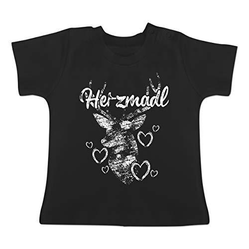 Bit 8 Link Kostüm - Oktoberfest Baby - Herzmadl mit Hirsch und Herzen - weiß - 12-18 Monate - Schwarz - BZ02 - Baby T-Shirt Kurzarm