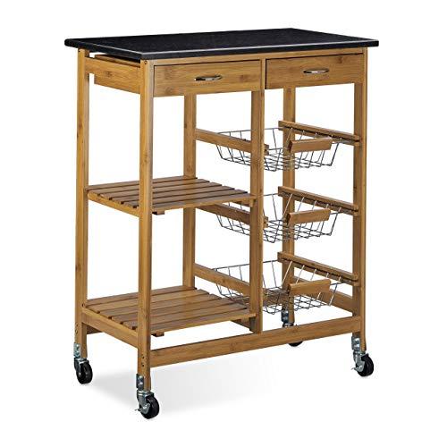 Relaxdays Küchenwagen Bambus ALFRED XL mit schwarzer Marmorplatte HBT: 82,5 x 67,5 x 37,5 cm Küchenrollwagen mit 2 Schubladen als Servierwagen mit 3 Edelstahl Körben Rollwagen und Küchentrolley, natur -