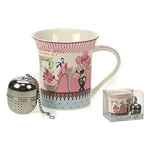 REVIMPORT - Tasse Mug porcelaine décorée MODE et boule à thé*