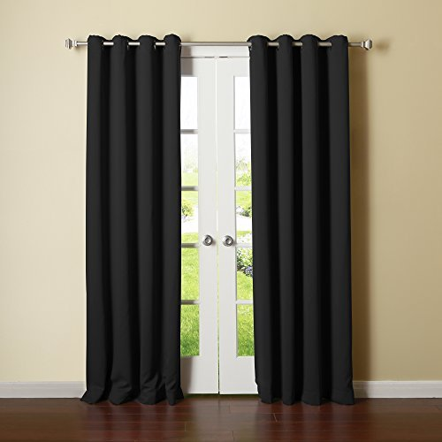 Best Home Fashion Thermal Insulated Blackout Curtains - Antique Bronze Grommet Top - Black - 52W x 108L - (Set of 2 Panels) by Best Home Fashion