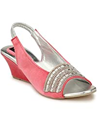 Rimezs Pink Embellish Party Evening Wear Slip On Sandal For Women And Girls