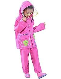 Highdas Niños Niños Niñas pantalones de lluvia traje impermeable poncho para niños con sombrero grande