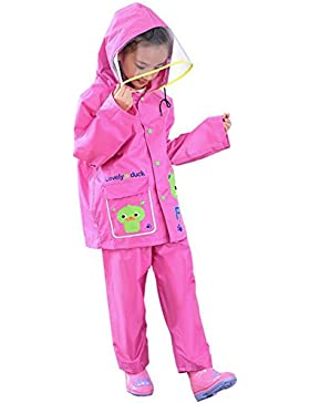 Highdas Kinder Jungen Mädchen Regen Pants Anzug Regenmantel Kinder Poncho mit Big Hat