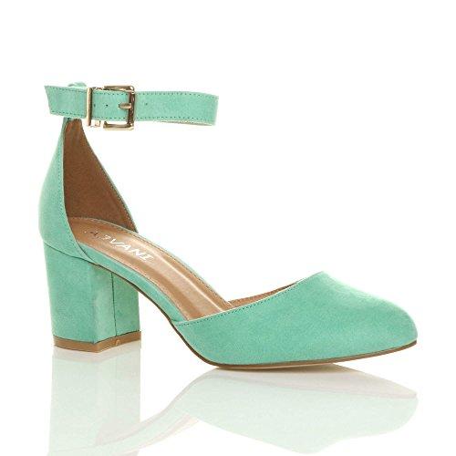 Damen Mitte Blockabsatz Knöchelriemen Schnalle Elegant Pumps Sandalen Größe Minze Grüne Wildleder