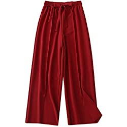 Pantacourt FNKDOR Femme Été Causal Ample Pantalon Fluide Confortable 7/8 Longueur Léger Cordon Élastique Pantalons Coton à Grande Taille pour Occasionnels Taille élastique(du vin,3XL)
