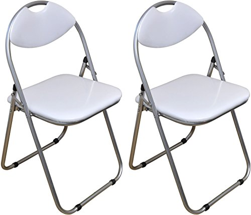 Harbour Housewares White Padded, Folding, Desk Chair - Pack of 2