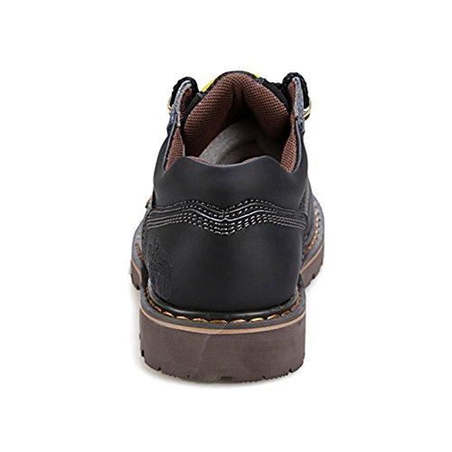 Rismart Hommes Cuir Véritable Chaussures à Lacets Industrie Chaussures de Travail 8566 Noir