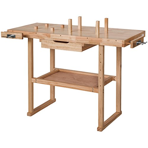 tectake holz werkbank mit schraubstock diverse gr en l kaufen profi werkzeugportal. Black Bedroom Furniture Sets. Home Design Ideas