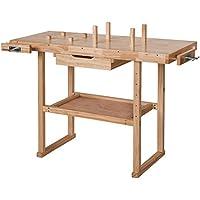 TecTake - Banco de trabajo de madera 117 x 47,5 ...