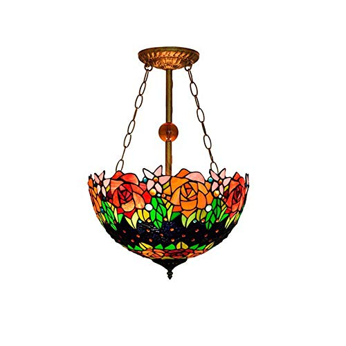 Lampada a sospensione in stile tiffany colore pile fatto a mano vetro antico con paralume in metallo a forma di fiore decorazione elegante in cristallo fantasia a soffitto rovesciata