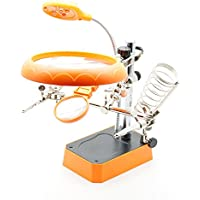 Ciscle 5 LED Auxiliary Clip Magnifier 3 in 1 Third Hand Soldering Solder Iron Stand Holder Station