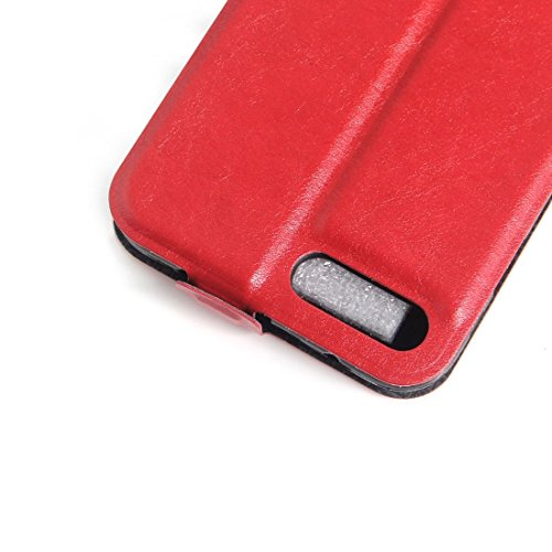 iPhone Case Cover Housse en cuir pour iPhone 7 Plus Verticale avec fente pour carte et cadre photo ( Color : White ) Red