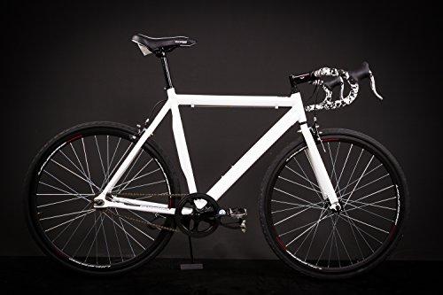 """28"""" Zoll Alu Rennrad Single Speed Race Bike Fixi Fahrrad Fixed Gear Rh 56cm weiss"""