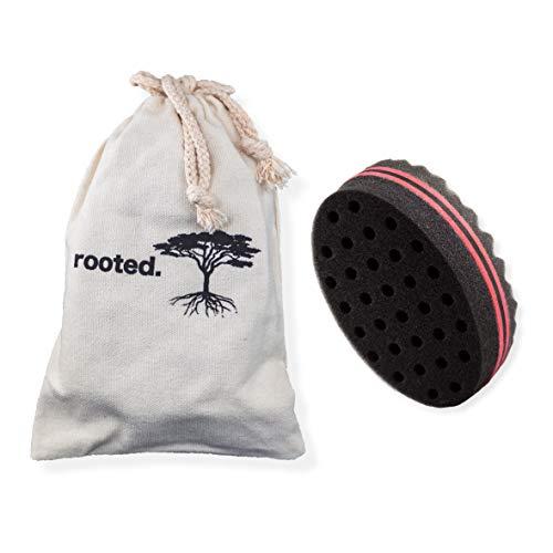 rooted. DAS ORIGINAL Premium Double Side Magic Twist and Curl Hair Sponge Haarschwamm Haarbürste für Afro Locken inklusive Baumwollbeutel zum Reisen und Aufbewahren