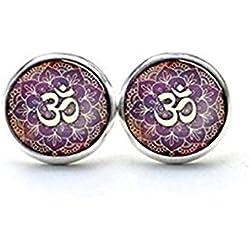 Pendientes de OM, Om símbolo Ear Studs, Namaste pendientes studs pendientes, Zen, Yoga Stud Pendientes Joyería, budista joyas