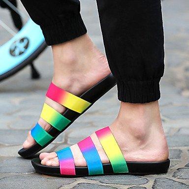 Slippers & amp da uomo;Estate Comfort seta casuale Tallone piano bianco nero arancio Rainbow di verde di Sa sandali US10.5 / EU43 / UK9.5 / CN45